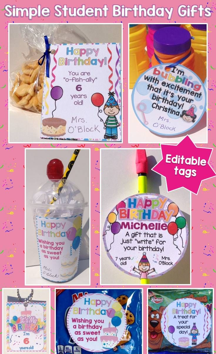 Ideas for easy and simple student birthday gifts as well as editable birthday certificates, tags, brag tags https://lessons4littleones.com/2016/08/23/student-birthday-gift-ideas-tags-certificates-brag-tags/