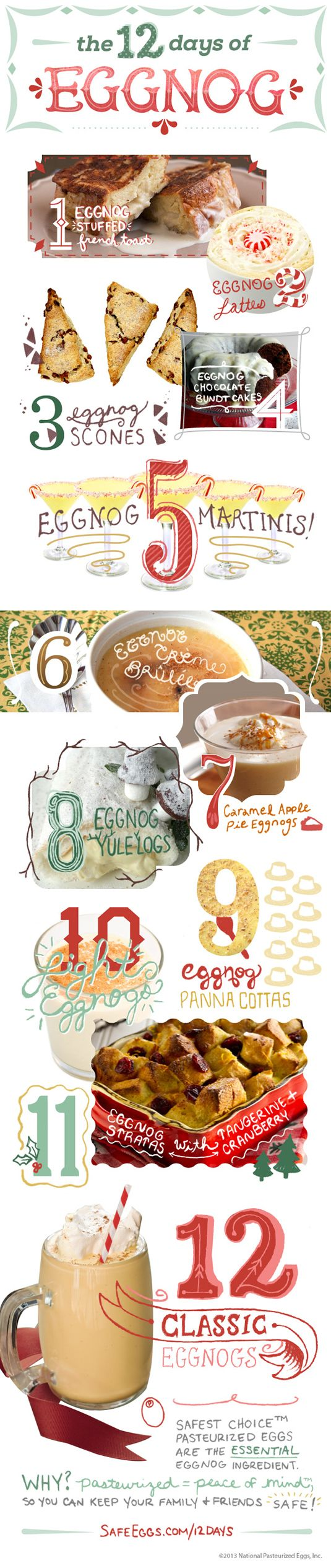 12 days of eggnog recipes, both drinkable and edible!  These recipes have eggnog covered all day from breakfast to dessert. Safest Choice™ P...