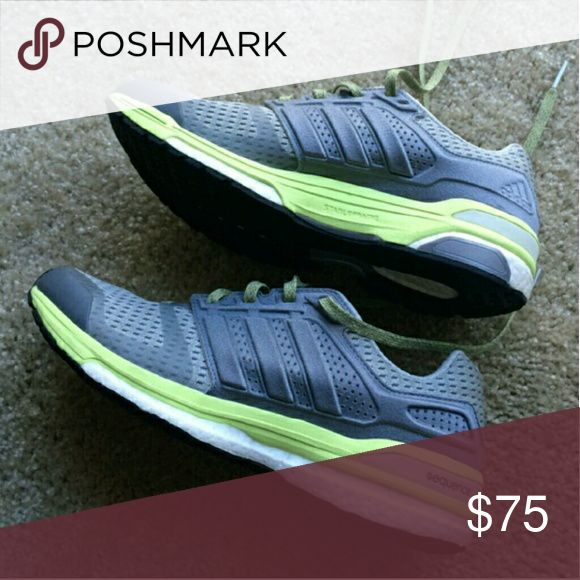 """Adidas Boost Sequence ' Supernova ' sneaker Continental rubber outsole, Says """"stable frame"""" on middle. Yellow green color with great and white; no insoles; only selling because I don't like the colors lol otherwise I'd keep. Amazing shoe. Price pretty firm  -- SHARE A FEW OF MY ITEMS, I'LL SHARE YOURS--  Matt18:21 Then Peter came up and said to him, """"Lord, how often will my brother sin against me, and I forgive him? As many as seven times?"""" 22 Jesus said to him, """"I do not say to you seven…"""