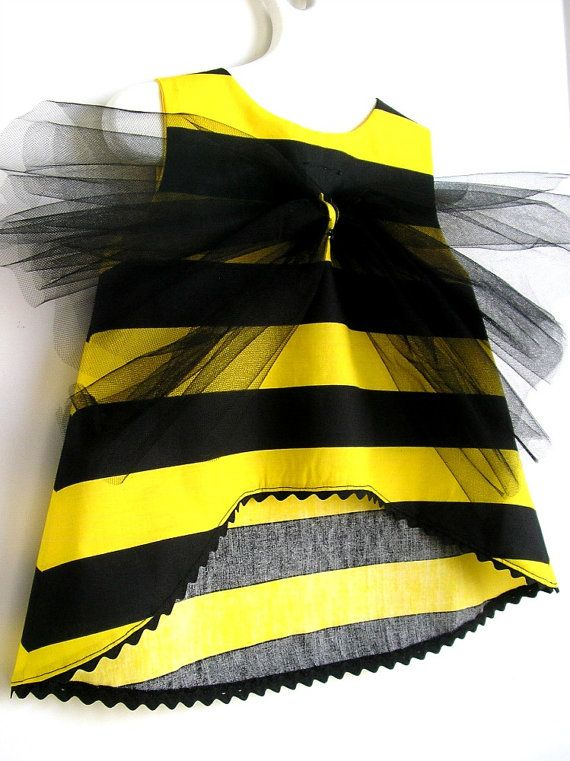 2 PC Set Bumble Bee Toddler Costume and Floral Head by peapodray