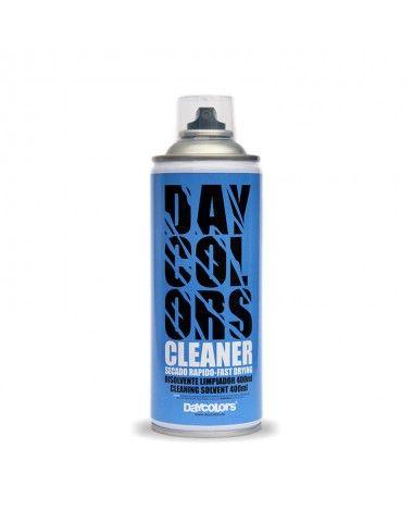DAYCOLORS CLEANER est un spray diluant universel et un nettoyant transparent en couleur. Il convient pour le nettoyage d'objets de peinture avant son utilisation et/ou pour enlever les résidus de peinture des caps après l'utilisation. Non corrosif.