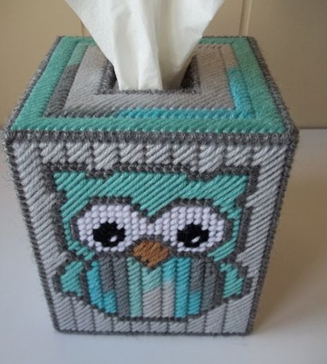 Owl Tissue Box Cover Plastic Canvas Tissue by KarensCrochetCottage