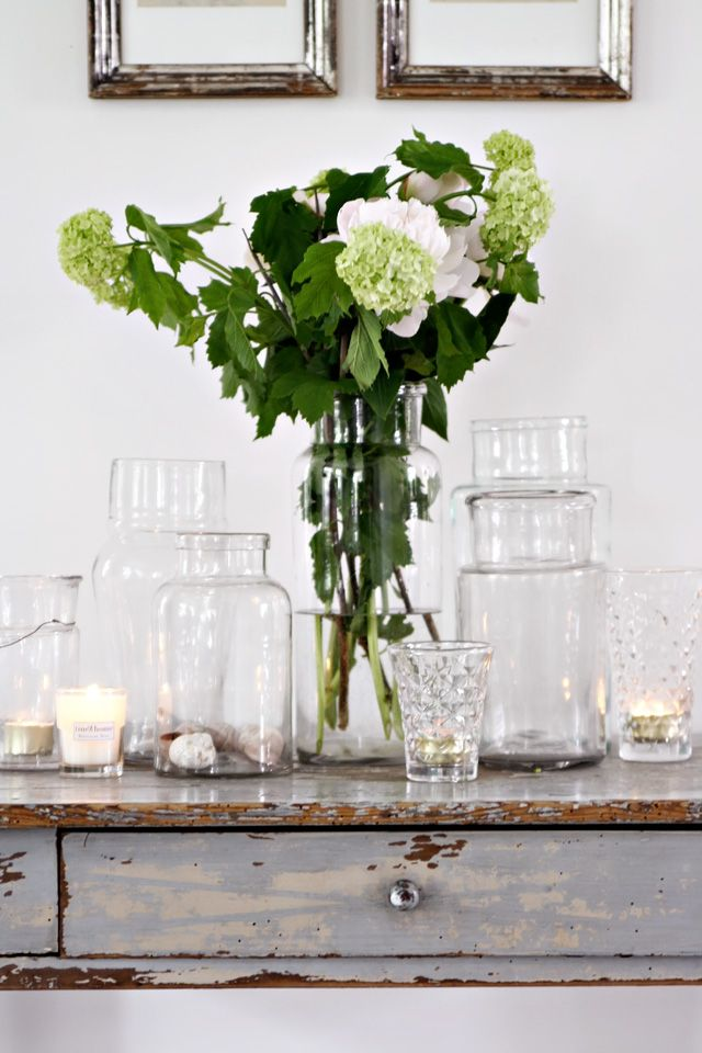 I even love empty vases.  Hydrangea, shells, and candles