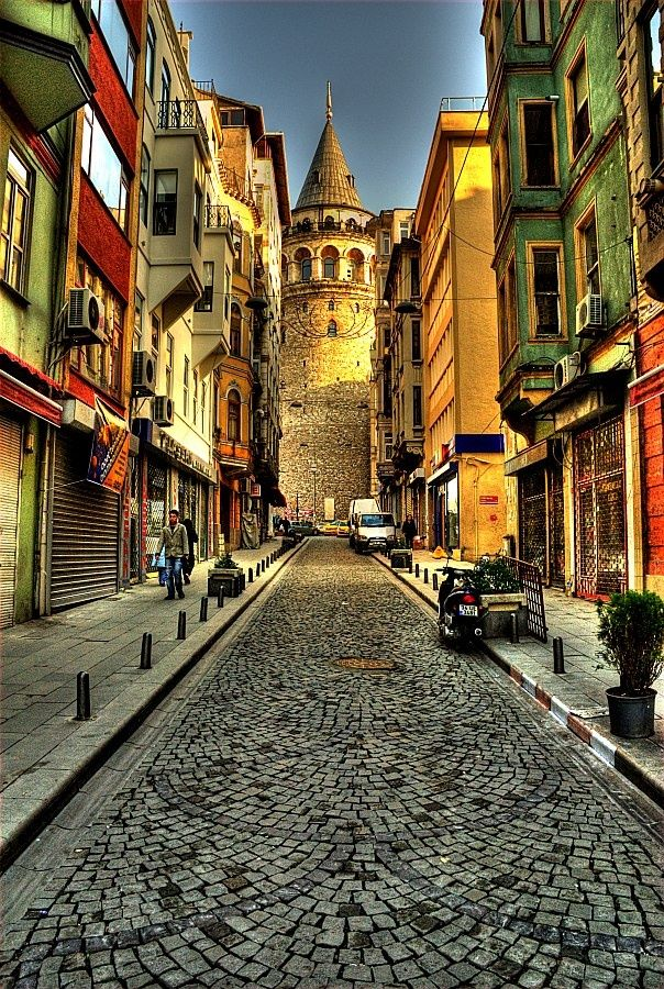 View to Galata tower In reality, there are too many people on the street to see the tower like this :D