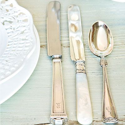 Mix Vintage Flatware | Combine pieces from different sets of silver flatware for a modern, collected setting
