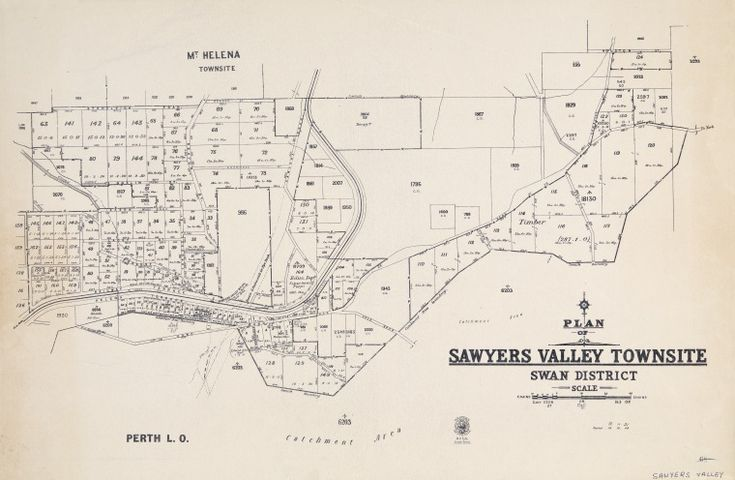SAWYERS VALLEY Cadastral map showing land use. Part of collection: Townsite maps, Western Australia. https://encore.slwa.wa.gov.au/iii/encore/record/C__Rb1970747