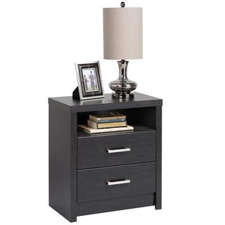 Washed Black Hudson Tall 2-drawer Nightstand