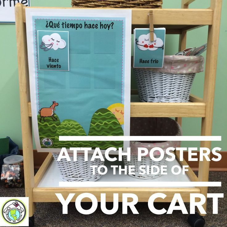 Tips for Traveling Teachers / Teachers on a Cart: Attach posters to side of your cart so they are ready to go! For more tips, see our blog post! Mundo de Pepita, Resources for Teaching Spanish to Children