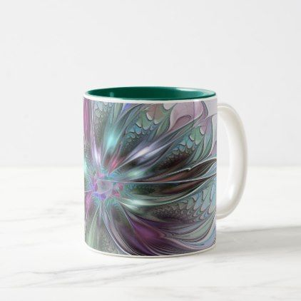 Colorful Fantasy Abstract Modern Fractal Flower Two-Tone Coffee Mug - diy individual customized design unique ideas
