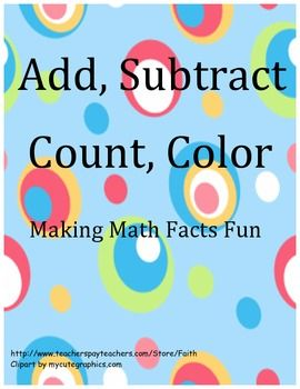 math worksheet : add subtract count color making math facts fun  math  : Making Math Worksheets