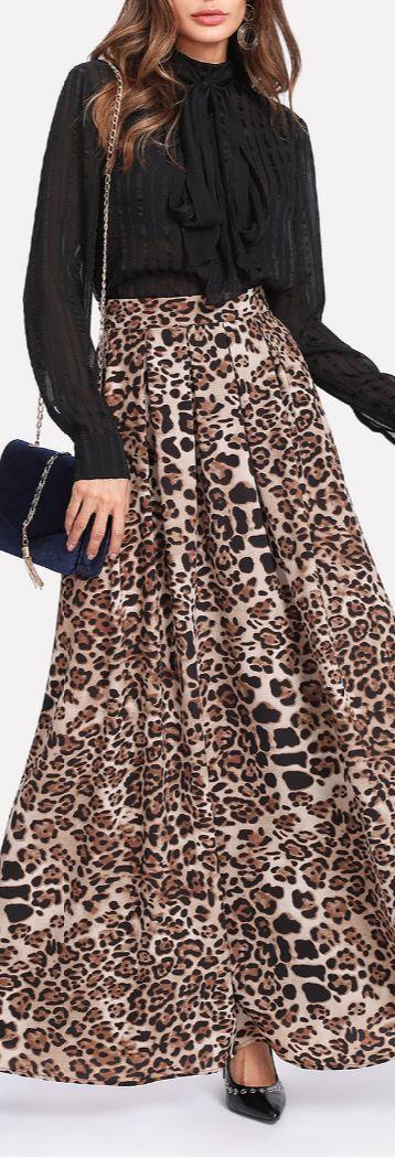 pleated leopard maxi skirt