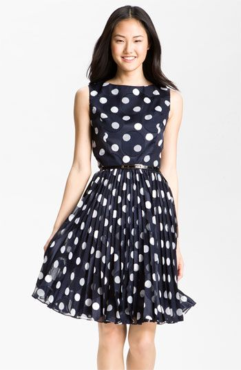Adrianna Papell Pleated Burn Out Dot Fit & Flare Dress