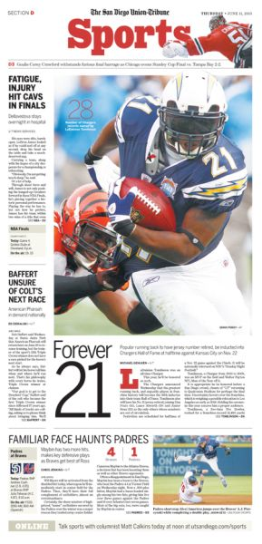 San Diego Union Tribune Chargers Ladanian Tomlinson #Newspaper #Design #Layout #GraphicDesign