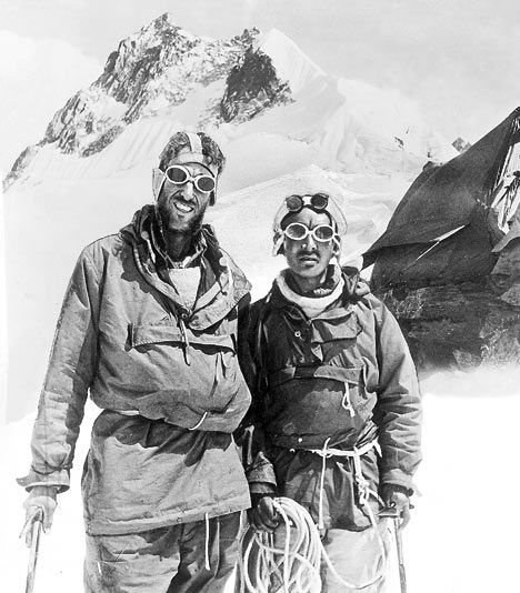 Sir Edmund Percival Hillary and Sherpa Tenzing Norgay. On 29 May 1953, they became the first climbers confirmed as having reached the summit of Mount Everest.