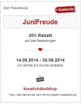 "Rabattcode ""JuniFreude"" für meinen DaWanda-Shop"