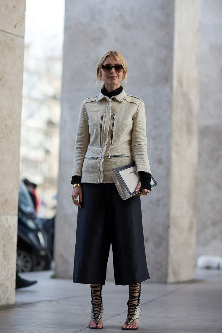 Is This The End Of Skinny Jeans? #refinery29  http://www.refinery29.com/baggy-pants#slide3  With a pair of strappy gladiators, this look feels almost ball-gown-like.