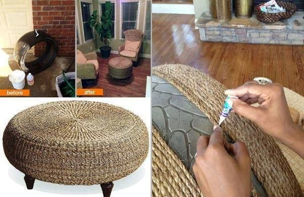 Recycled Tire Made Into A Foot Stool Diy Pinterest