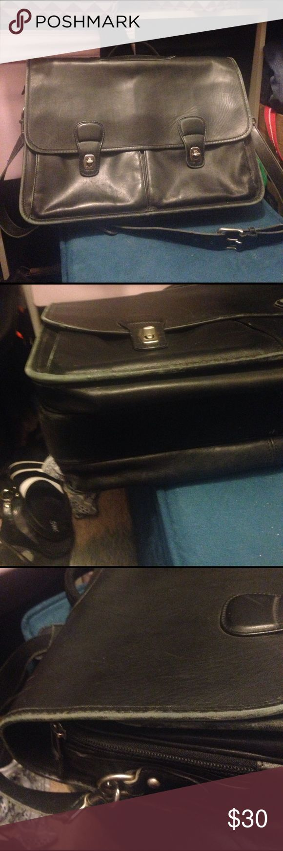 Coach briefcase Large Coach  briefcase. Does show signs of wear, fading on edges and piping. Comes with a protective bag for tablets Coach Bags Briefcases