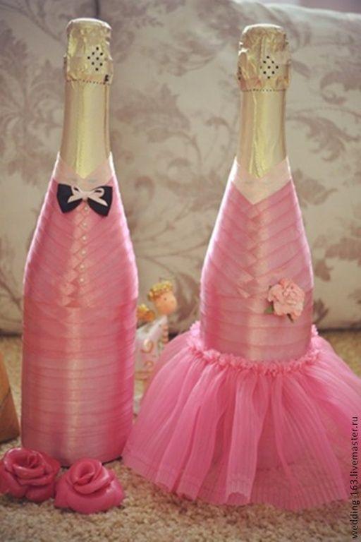"""Купить Свадебные бутылки """"Нежность"""" - брусничный, розовый, синий, зеленый, тиффани, шампанское, свадебные бутылки"""