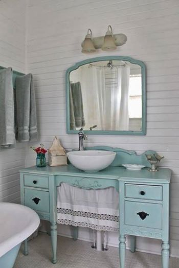Foto: I am totally in love with this handy-dandy bathroom vanity♡ Photo via pinterest.com