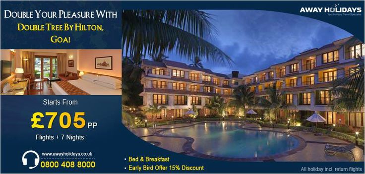 #Double #Tree By #Hilton, #Goa, 7 nights vacation available from £705 pp. Call our travel experts for details and bookings. http://www.awayholidays.co.uk/indianocean/india/goa/double-tree-by-hilton.aspx