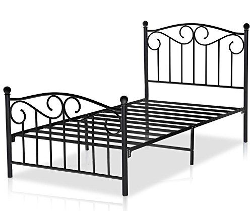 Yaheetech Single Metal Bed Frame Twin Size Sleigh Bedstead with Headboard & Footboard (Black) * Continue to the product at the image link.