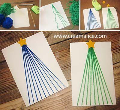 ❅ ✄ DIY Carte Sapin Noël Laine / DIY Wool Christmas Tree Card ✄ ❅  www.creamalice.com