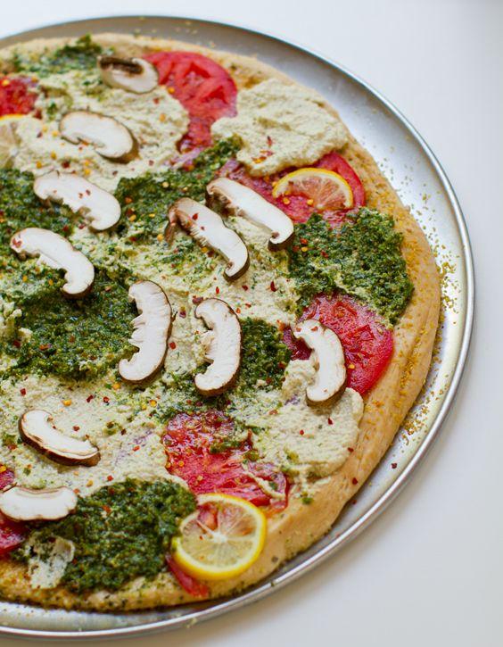 Pesto Cashew Ricotta Pizza (vegan)