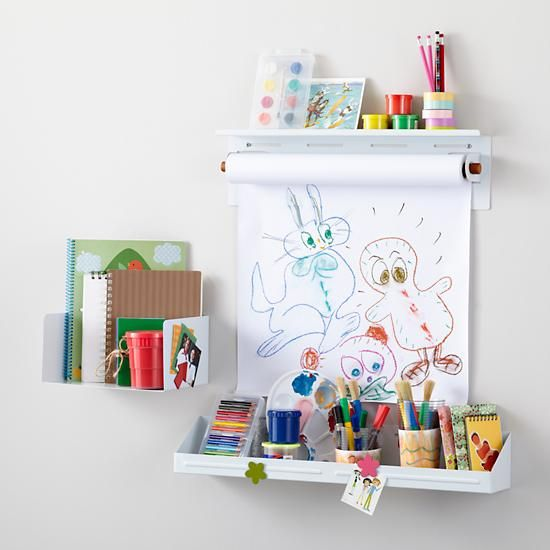 The Land of Nod | Kids Shelving: White Wall Shelves and Bins in Shelf & Wall Storage ... would love the wall paper roller shelf for our craft area