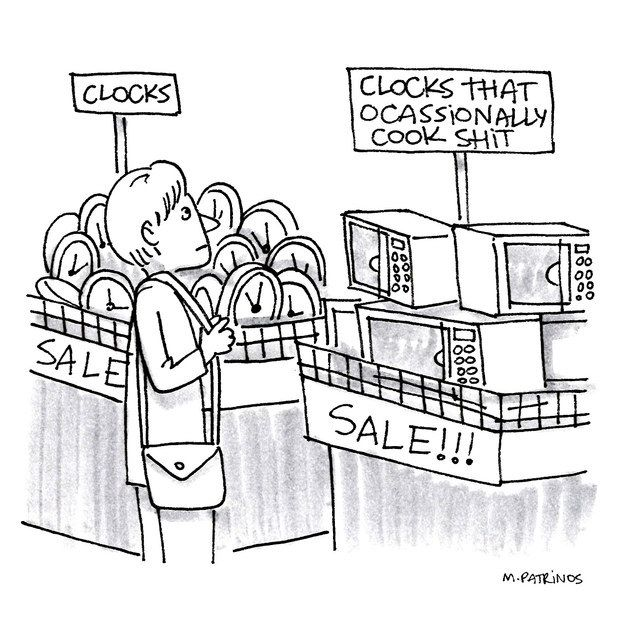 Isn't this really what a microwave boils down to? | 11 Mitch Hedberg Jokes As New Yorker Cartoons