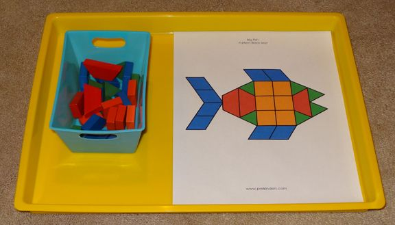 Ocean Montessori trays - pattern block fish || Gift of Curiosity