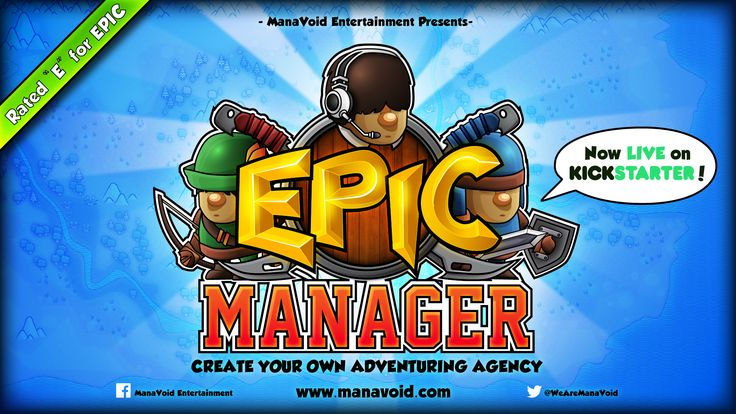 """Epic Manager Splash Logo  // Epic Manager - Create Your Own Adventuring Agency // Rated """"E"""" for EPIC! //  www.manavoid.com"""