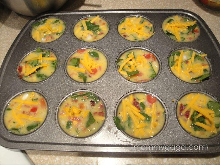 Healthy Breakfast Recipes: Turkey Bacon, Egg and Spinach Frittata Minis