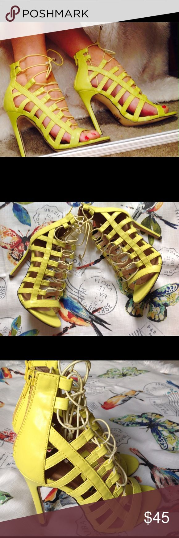 LUSCIOUS LEMON LACE UP HEELS! A BESTSELLER LAST PR Think lemon sherbet! Yummy yellow 4 1/2 inch heel, vegan (man-made) strappy corset heels. Brand new in box. Never worn. Fabulous with black and white romper in my closet. Be a global chic fashionista! Only pair in this color.🍋🍋🍋🍋 True to size. Mark & Maddux Shoes Heels