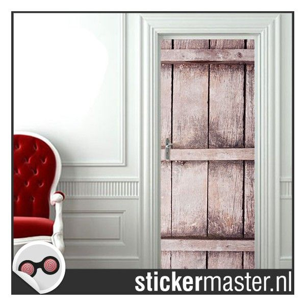 deursticker houten schuurdeur - Stickermaster