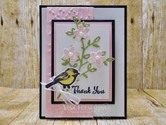 Stampin' Up! Petal Palette stamp set, Petals and More Thinlits Dies, Petal Pair Textured Embossing Folder, Thank You Cards, Flap Card