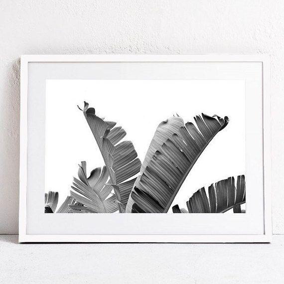 Printable wall art print black and white print art nature photography download print banana leaf art tropical art large modern wall print