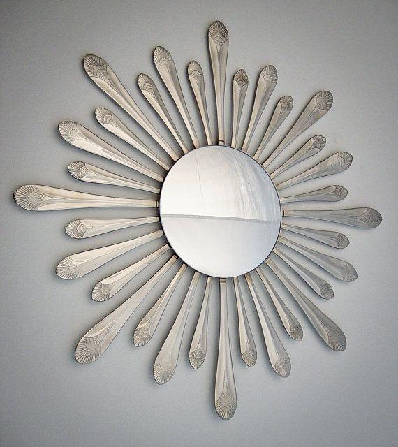 Spoon+Handle+Sunburst+w/+Convex+Mirror+15+Handmade+by+HammerandI,+$85.00
