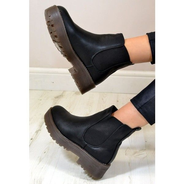 SOU Chunky Low Heel Biker Style Chelsea Ankle Boots In Black ($25) ❤ liked on Polyvore featuring shoes, boots, ankle booties, chunky black booties, black ankle booties, black platform boots, platform booties and black biker boots