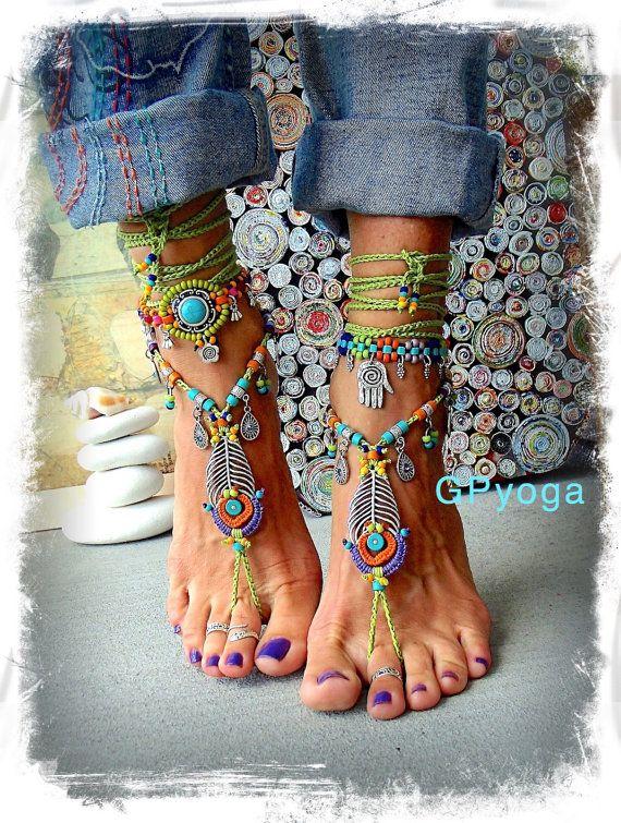 Rainbow PEACOCK Feather BAREFOOT sandals Gorgeous Artisan Boho crochet wrap sandal Beach Wedding Photography prop HIPPIE foot jewelry GPyoga