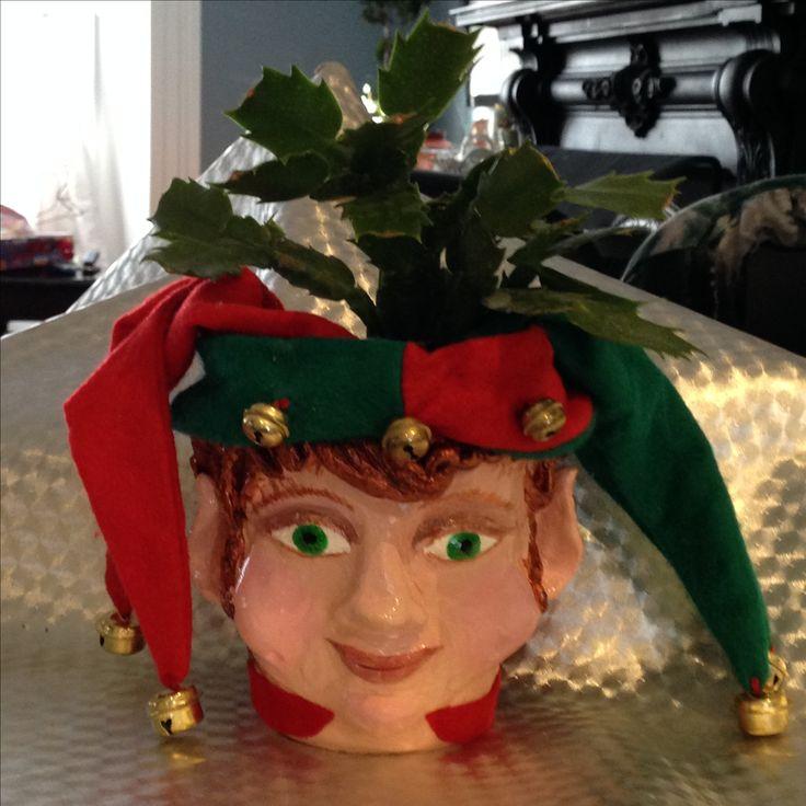 I made this elf pot for a teacher.  Xmas 2016