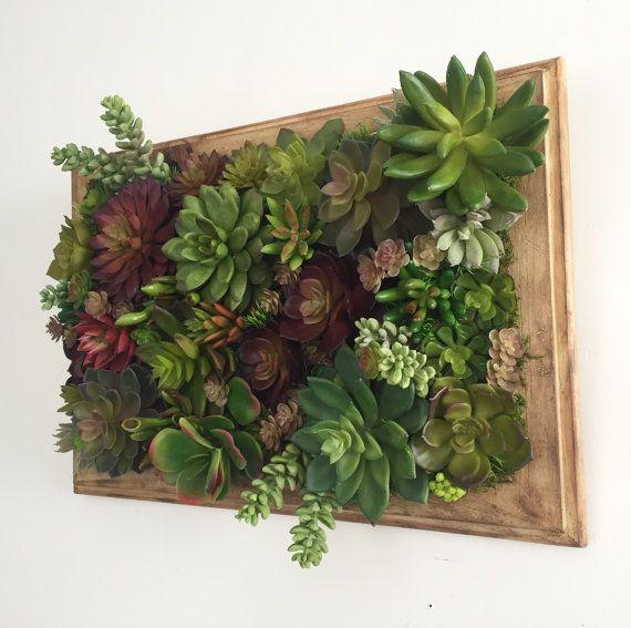 Succulent Arrangement, Artificial Succulent Wall Garden, Succulent Vertical Garden on Handmade Wood Frame