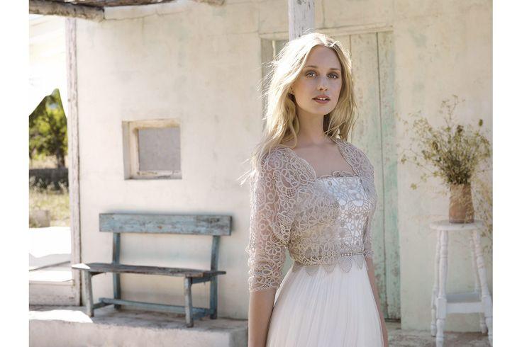 Rembo styling — Vintage — Jill: Kleid aus Tüll mit erhöhter Taille und bronzefarbener Spitze am Oberteil. Passender Bolero möglich in derbronzefarbenen Spitze.