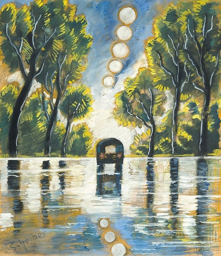 Scheiber Hugó (1873-1950), After the rain, Gouache on pape