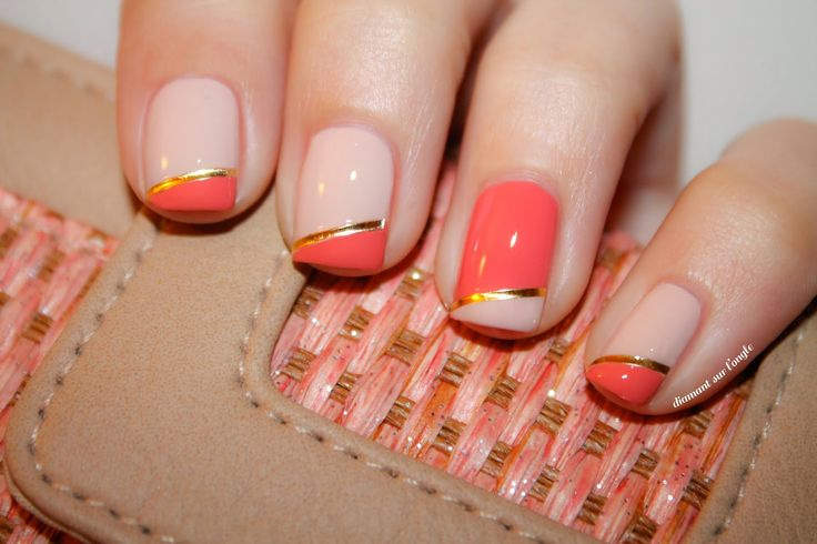 ◣ Summer French Nude & Coral Essie                                                                                                                                                     Plus