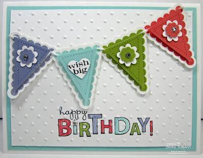 Cardstock:  Whisper White, Pool Party, Wisteria Wonder, Lucky Limeade and Calypso Coral  Stamp Sets:  Pennant Parade, Bring on the Cake  Accessories:  Itty Bitty Shapes Punch Pack (flower), Heart Punch, Pennant Punch, Rhinestone Jewels, In Color Markers, Polka Dot Embossing Folder, Big Shot!