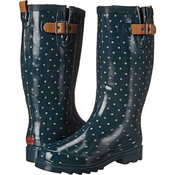 Chooka Classic Dot Rain Boot Women's Rain Boots (130 SAR) ❤ liked on Polyvore featuring shoes, boots, blue, mid-calf boots, rubber boots, wellington rubber boots, pull on boots, low heel boots and wellington boots