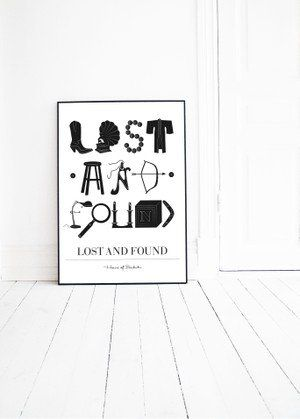 LOST AND FOUND graphic illustration by Pernilla Algede. Buy at houseofbeatniks.com