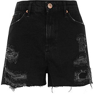 Black high waisted frayed denim shorts