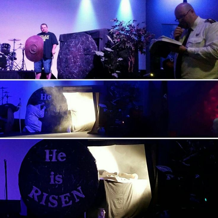 """Easter Sunday 2016. Art reveal during  our Sunday service. Letters die-cut from black contact were stuck on canvas and painted over with a rock-texture effect. During the service, the stone was rolled back (with dramatic fog and lights) and letters were peeled off to reveal """"He is RISEN""""."""